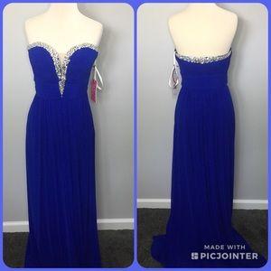 Royal blue long Jovani Dress strapless dress Sz 10